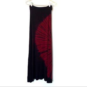 3x$15 LOVE IN   Black & Red Tie Dye Maxi Skirt M